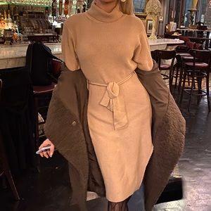 Fashion Nova beige sweater dress with slit